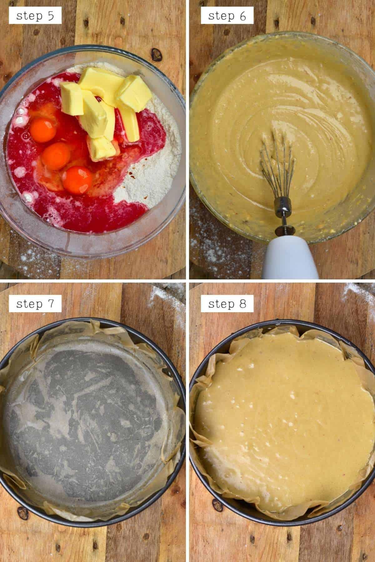 Steps for mixing orange cake batter