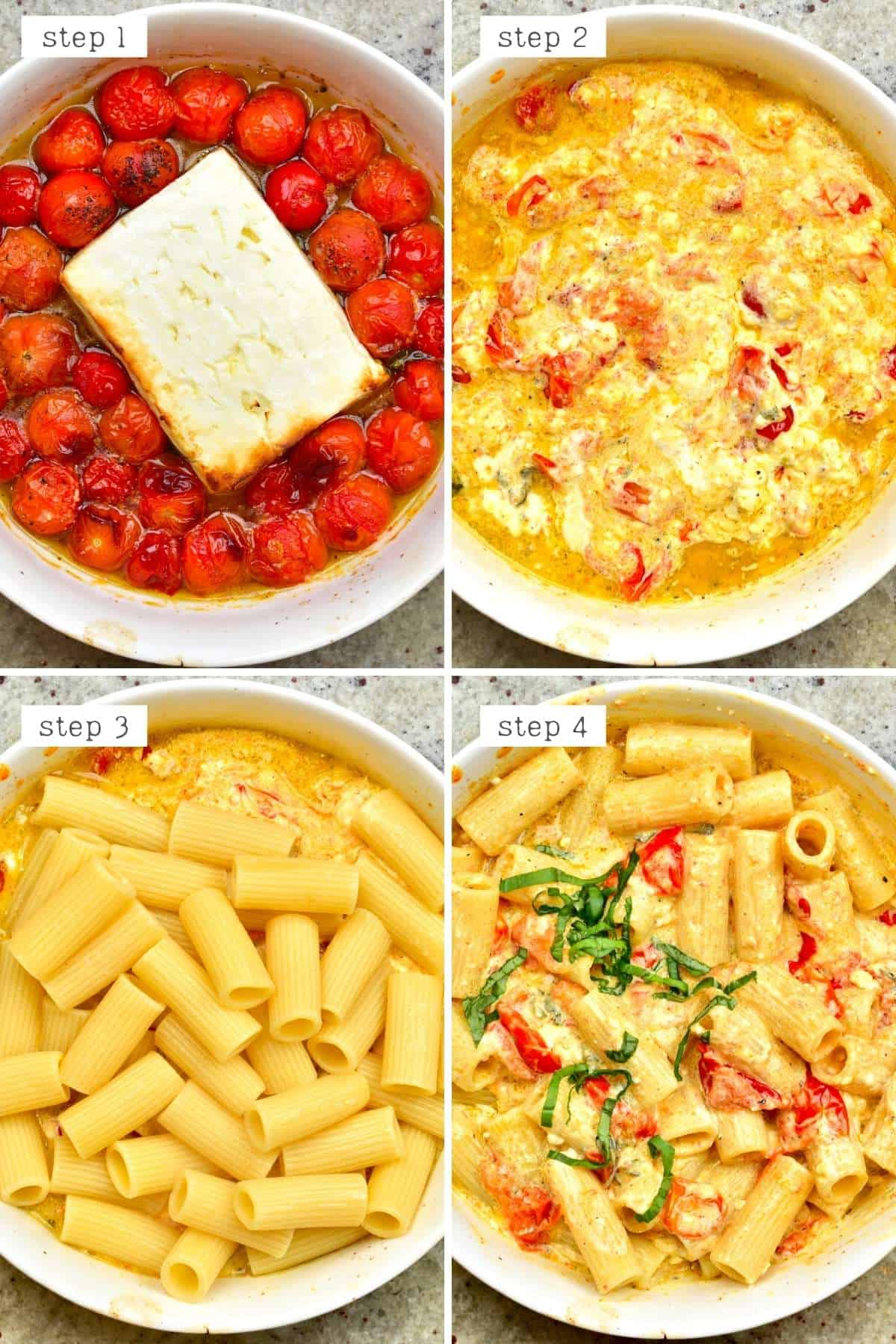 Steps for mixing tomato feta pasta