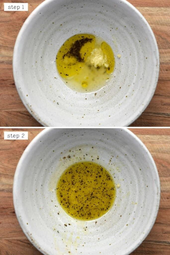 Steps for mixing vinaigrette
