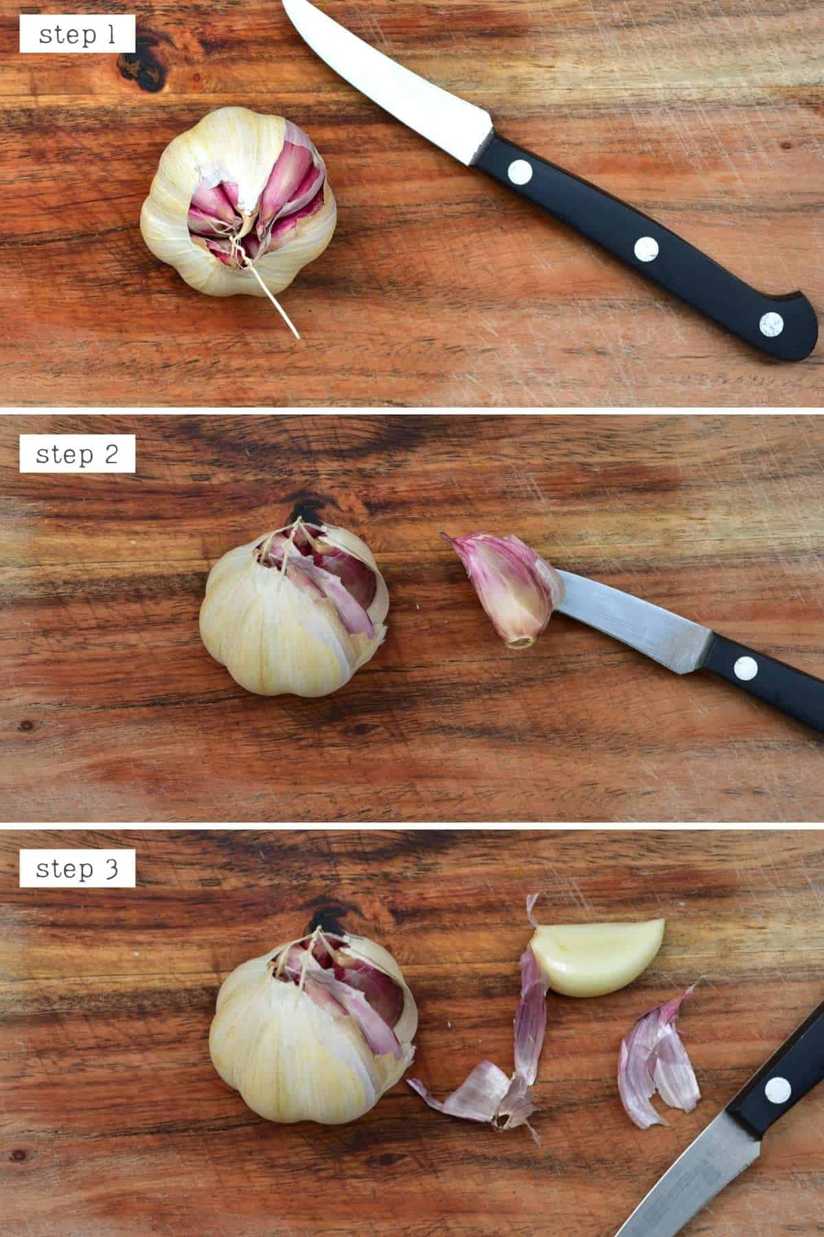 Steps for peeling garlic with a paring knife