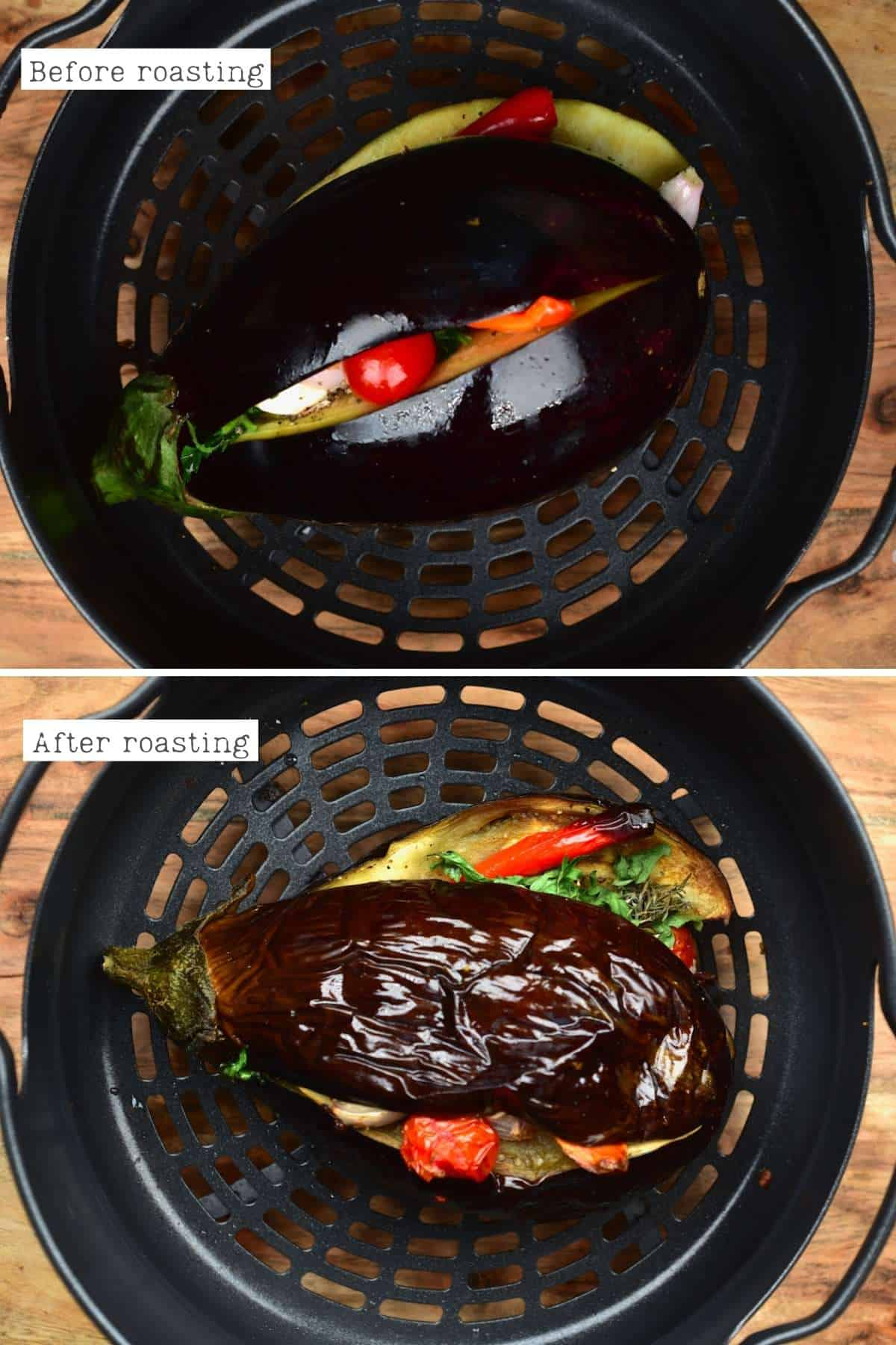 Steps for roasting eggplant