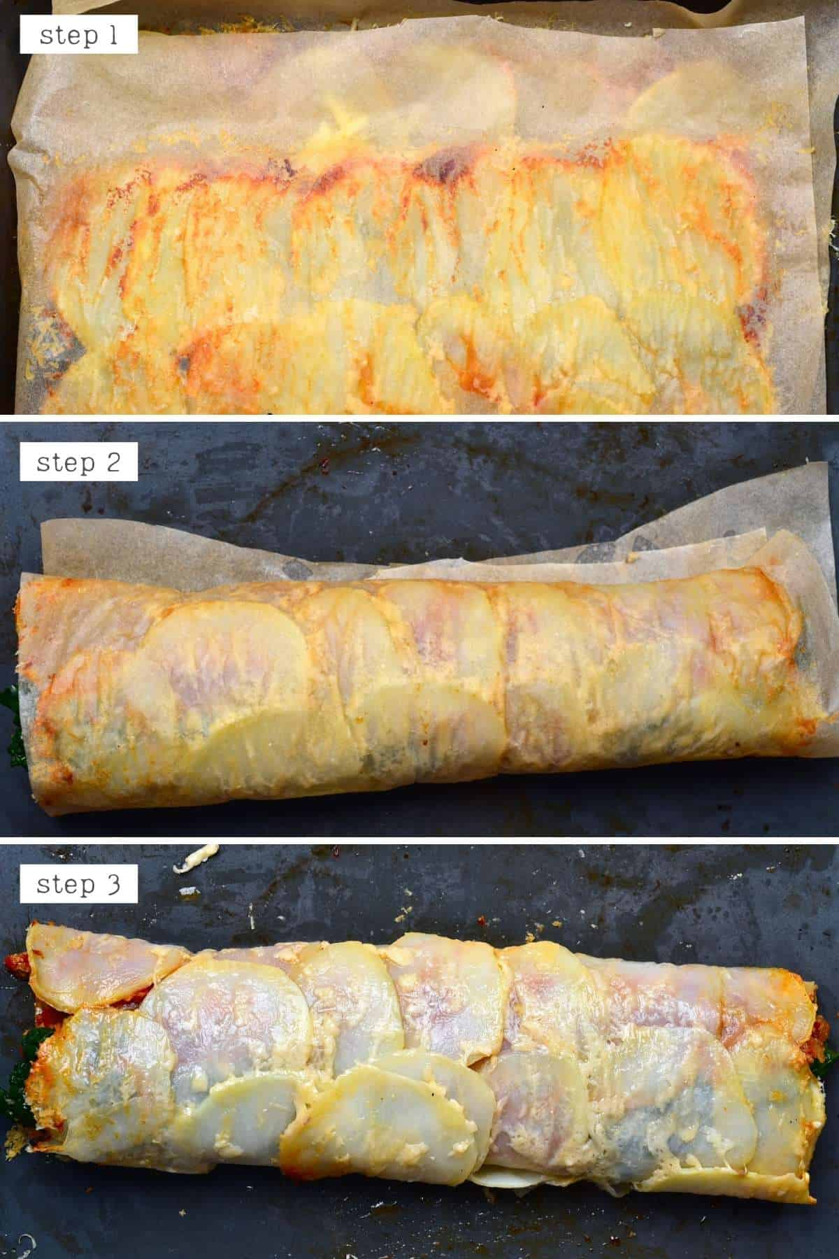 Steps for rolling scalloped potato