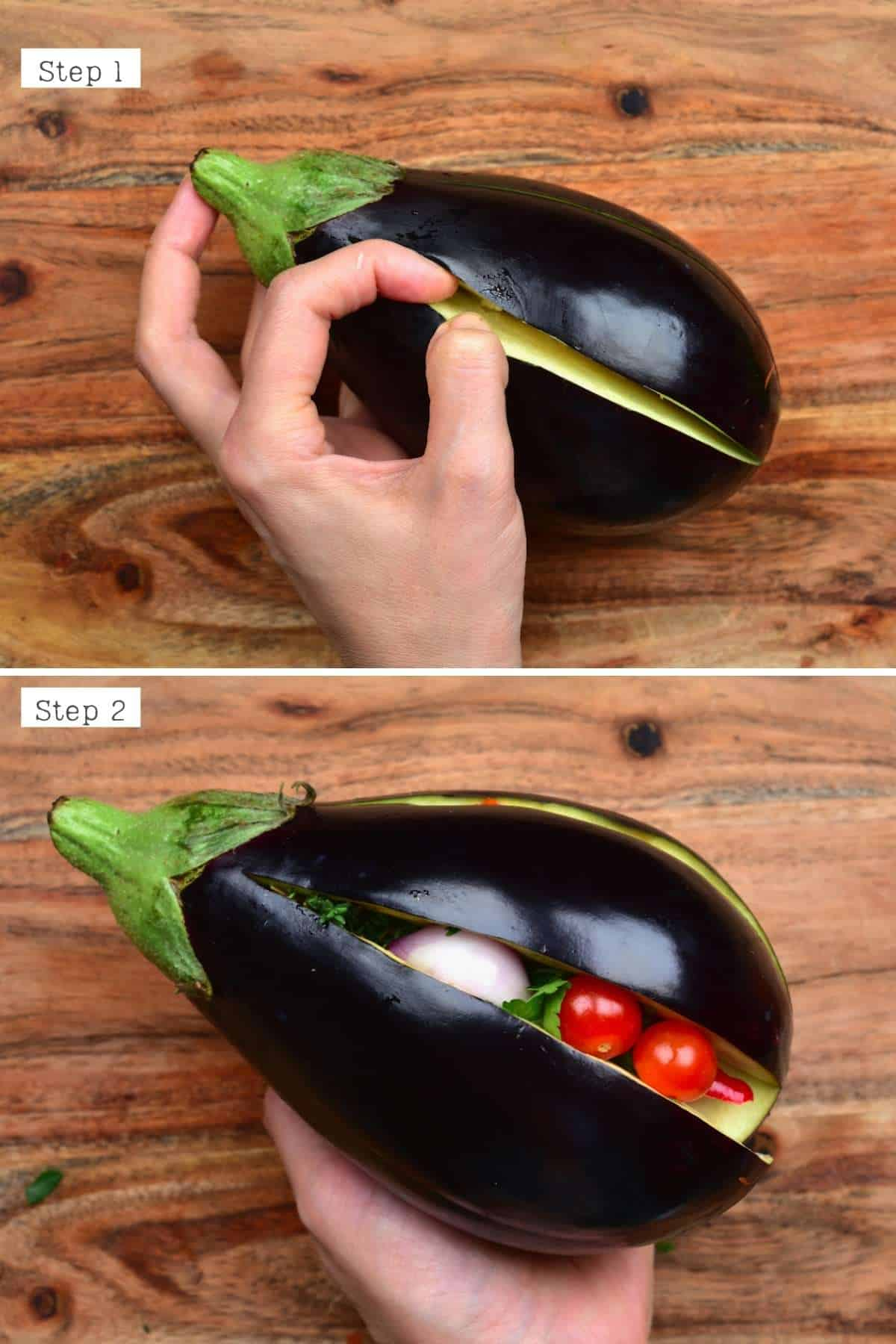 Steps for stuffing an eggplant