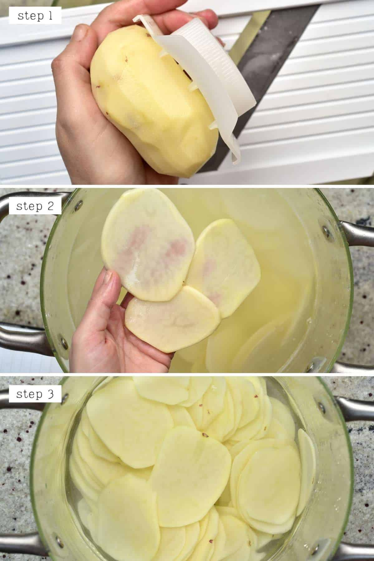 Steps for thinly slicing potatoes