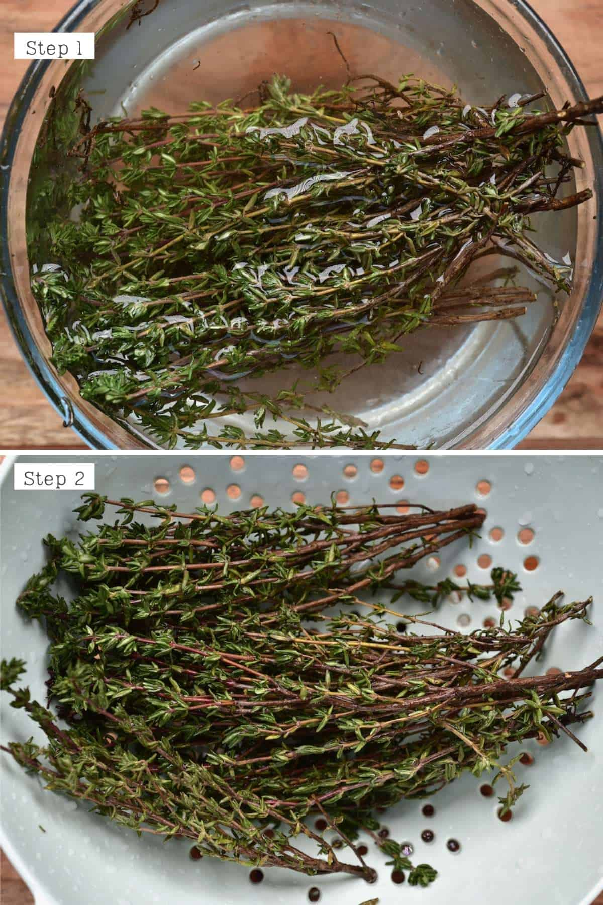 Steps for washing thyme