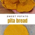 One open and one closed Sweet potato gluten-free pita bread