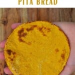 Sweet potato gluten-free pita bread in a hand