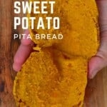 An opened sweet potato pita bread