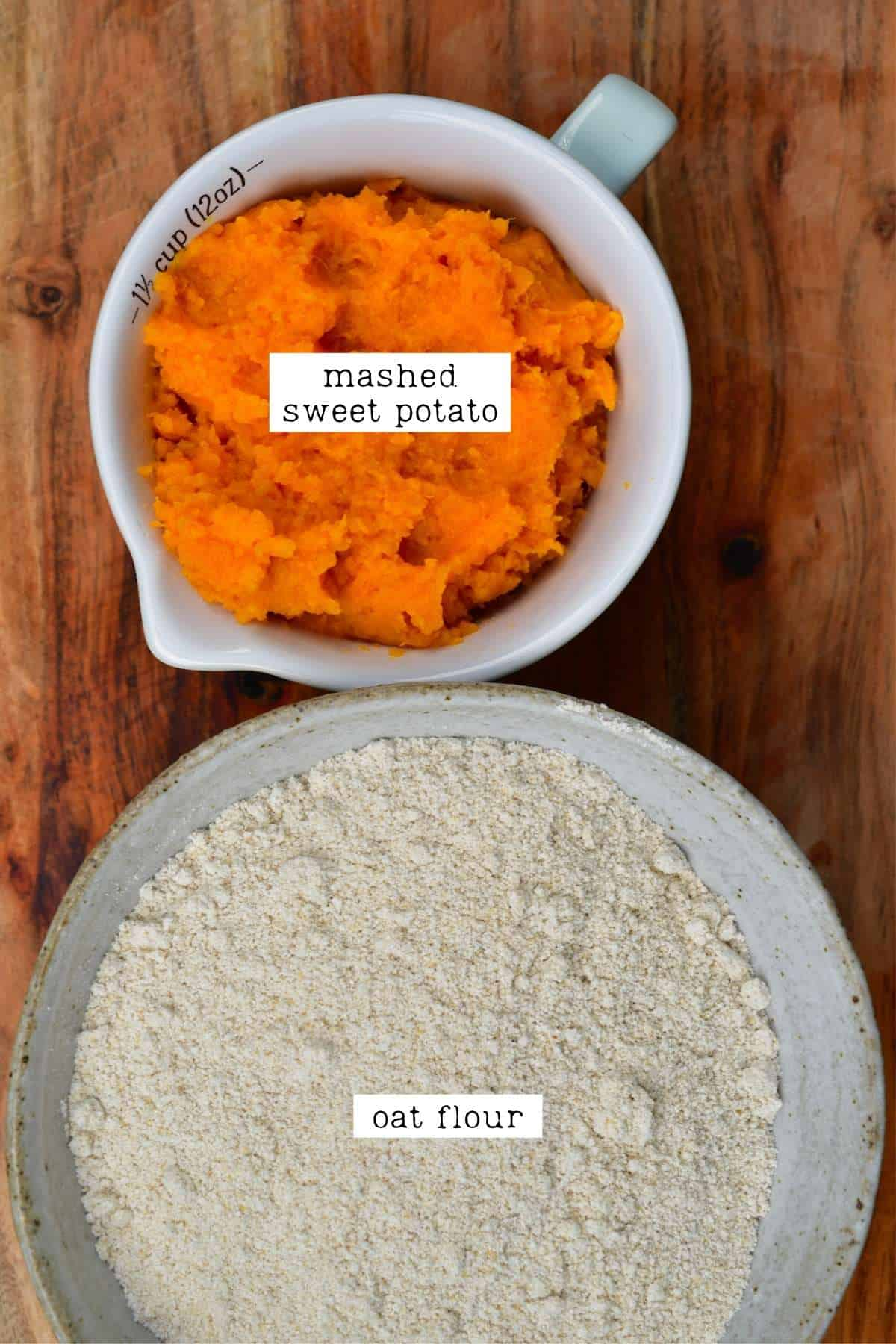 Ingredients for sweet potato flatbread