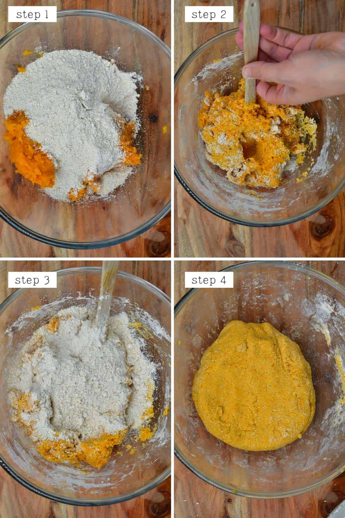 Steps for making sweet potato dough