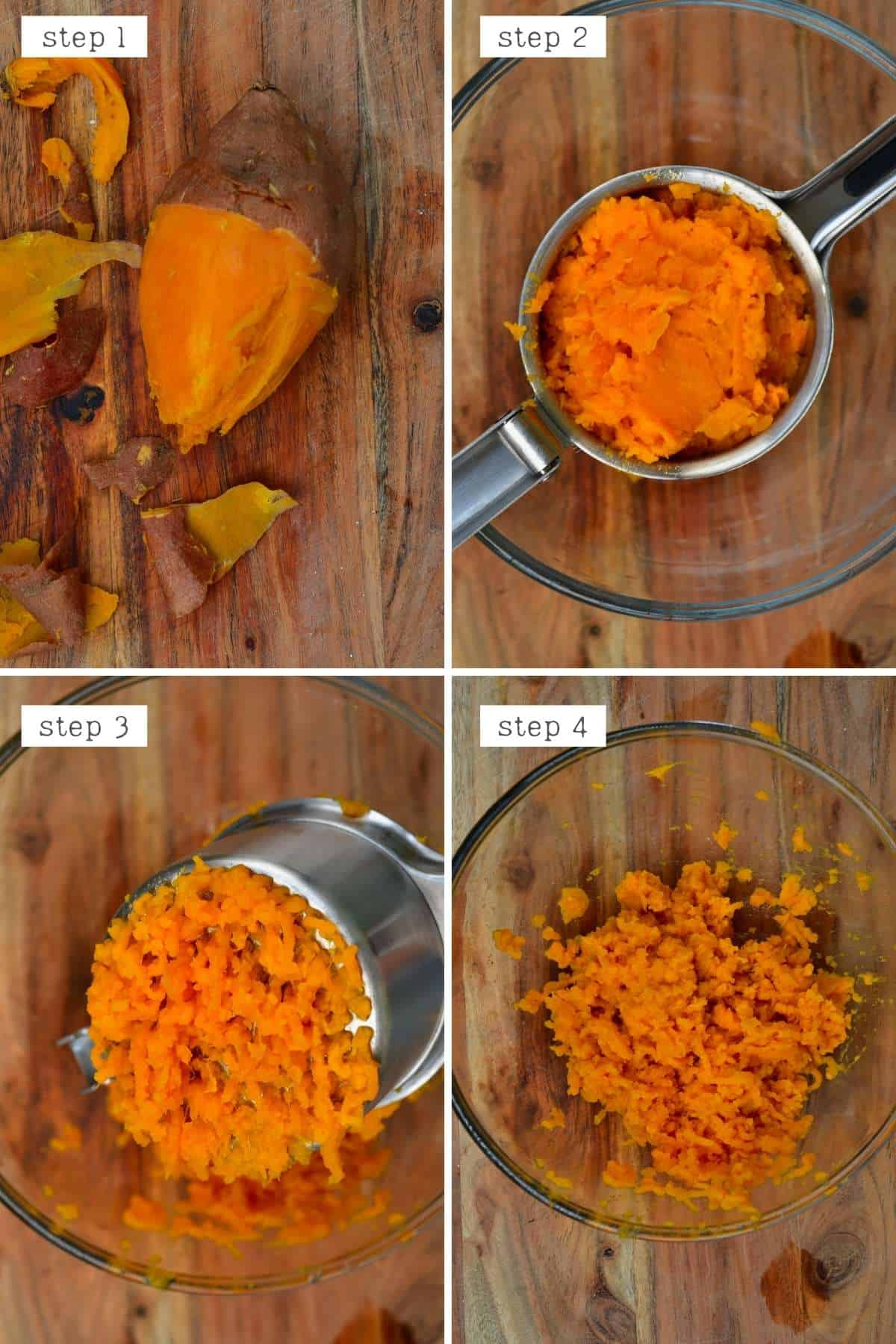 Steps for mashing sweet potato