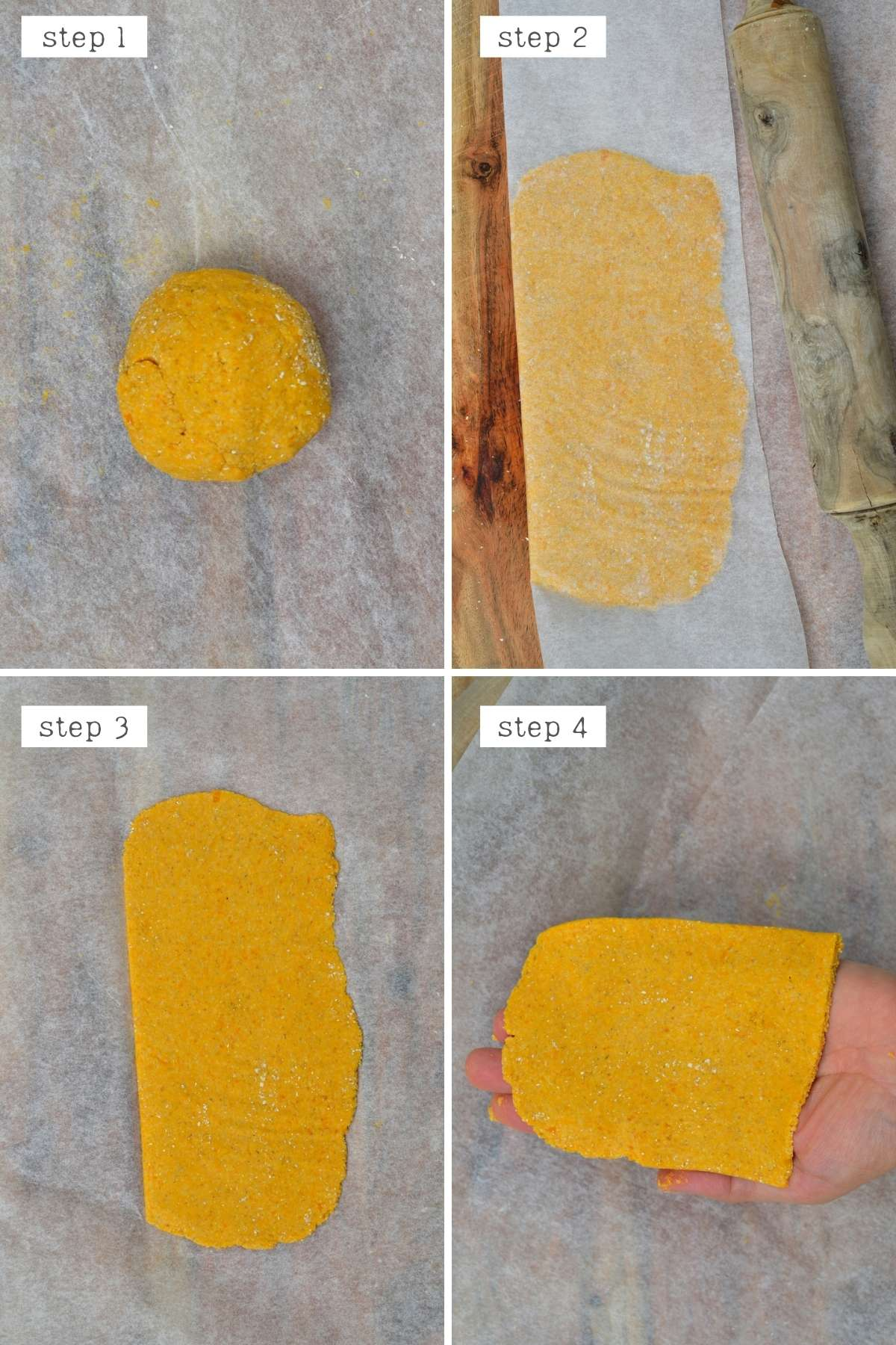 Steps for rolling sweet potato flatbread