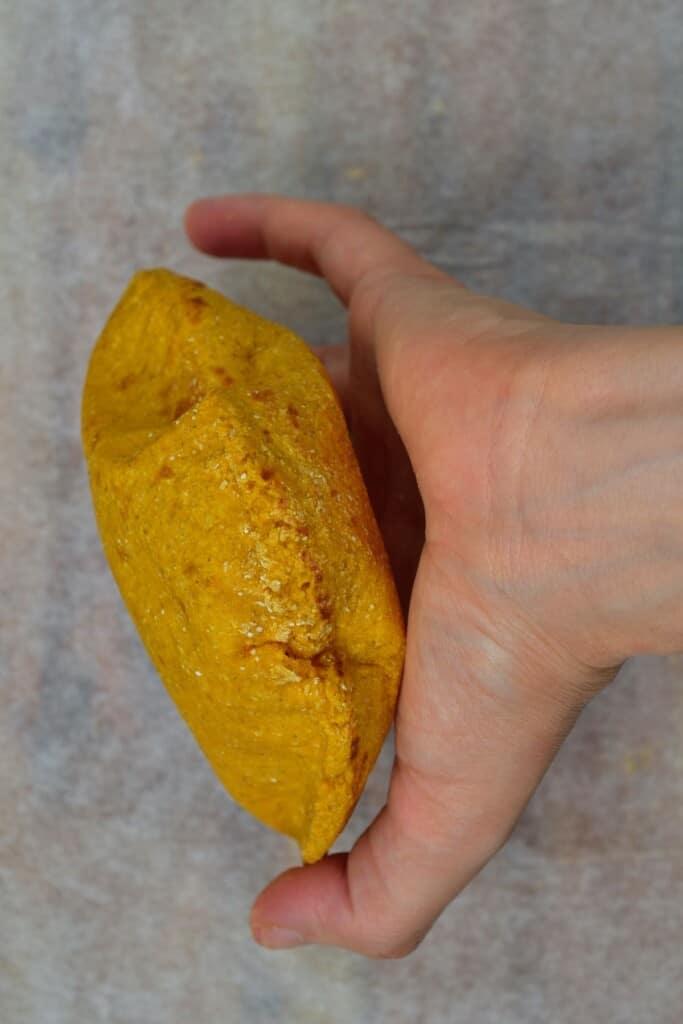 Sweet potato flatbread with air pocket