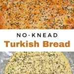 Turkish pide bread before and after baking