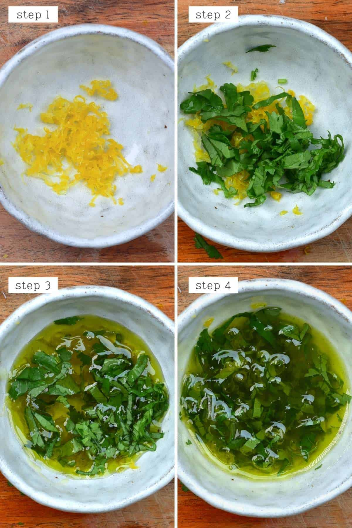 Steps for mixing lemon zest with cilantro and oil