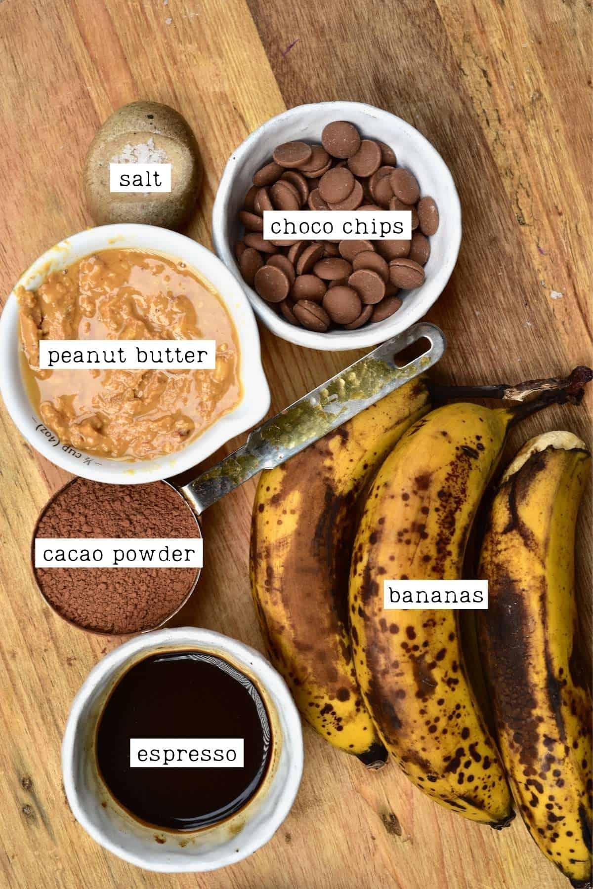 Ingredients for banana brownies