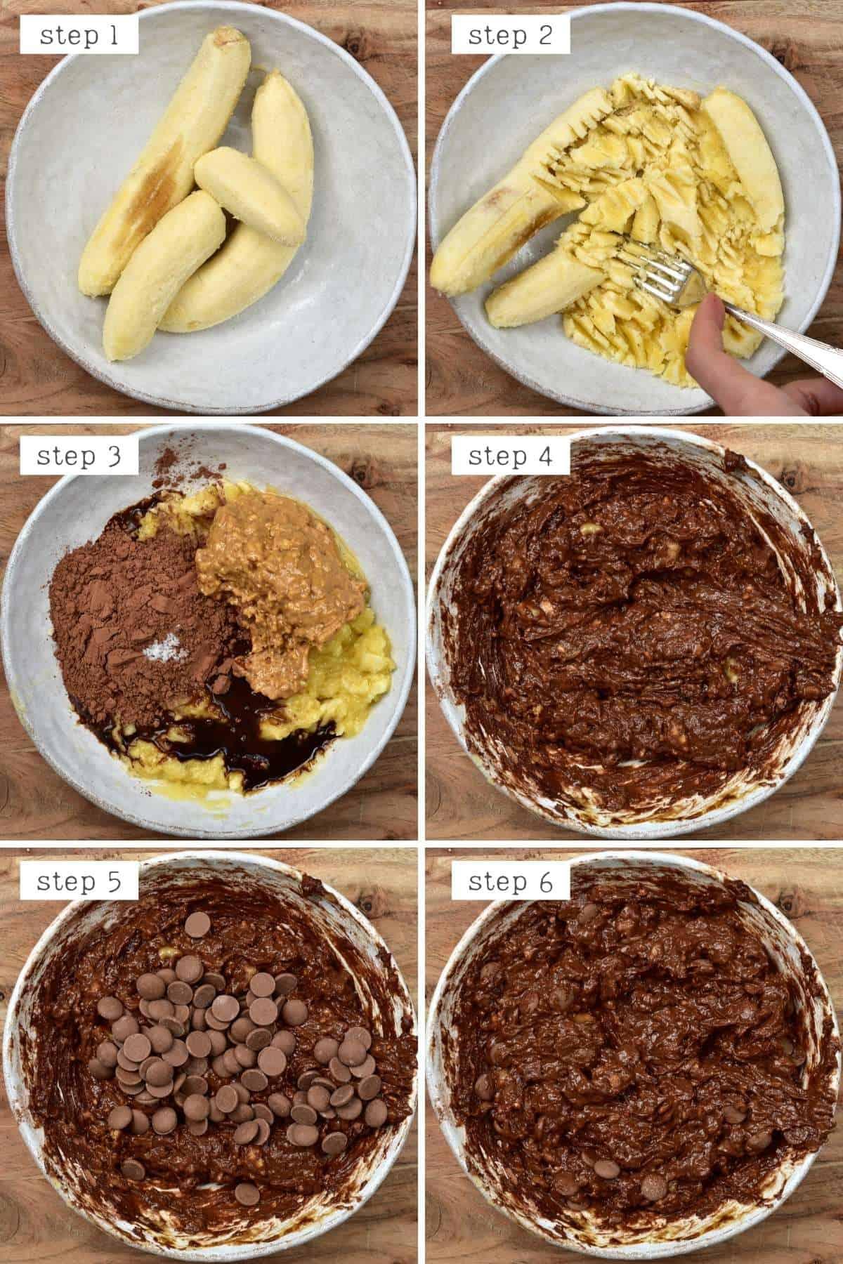 Steps for making banana brownies