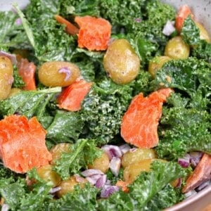 A close up of potato and salmon salad