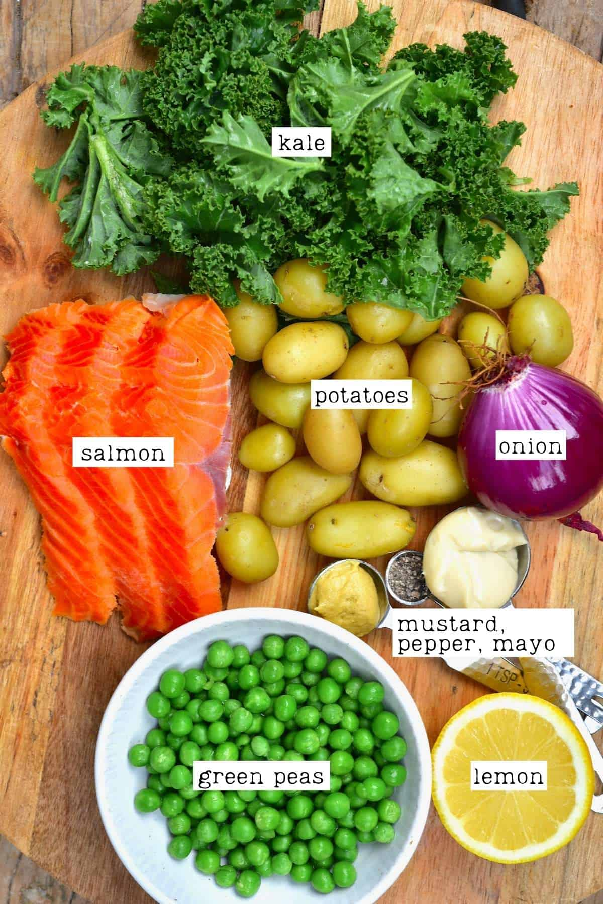Ingredients for salmon potato salad