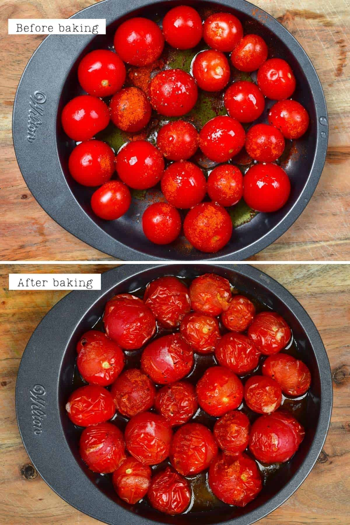 Before and after baking tomatoes