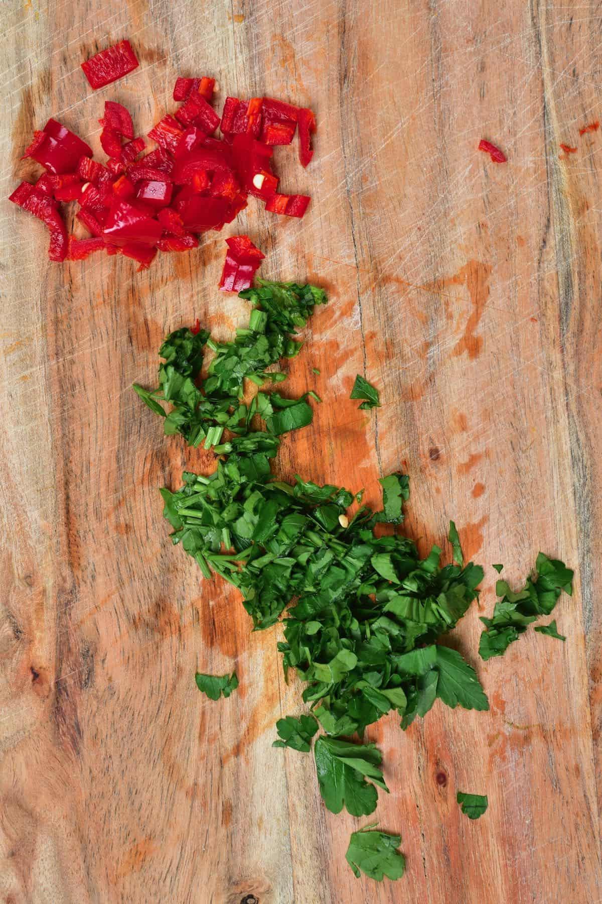 Chopped chili and parsley