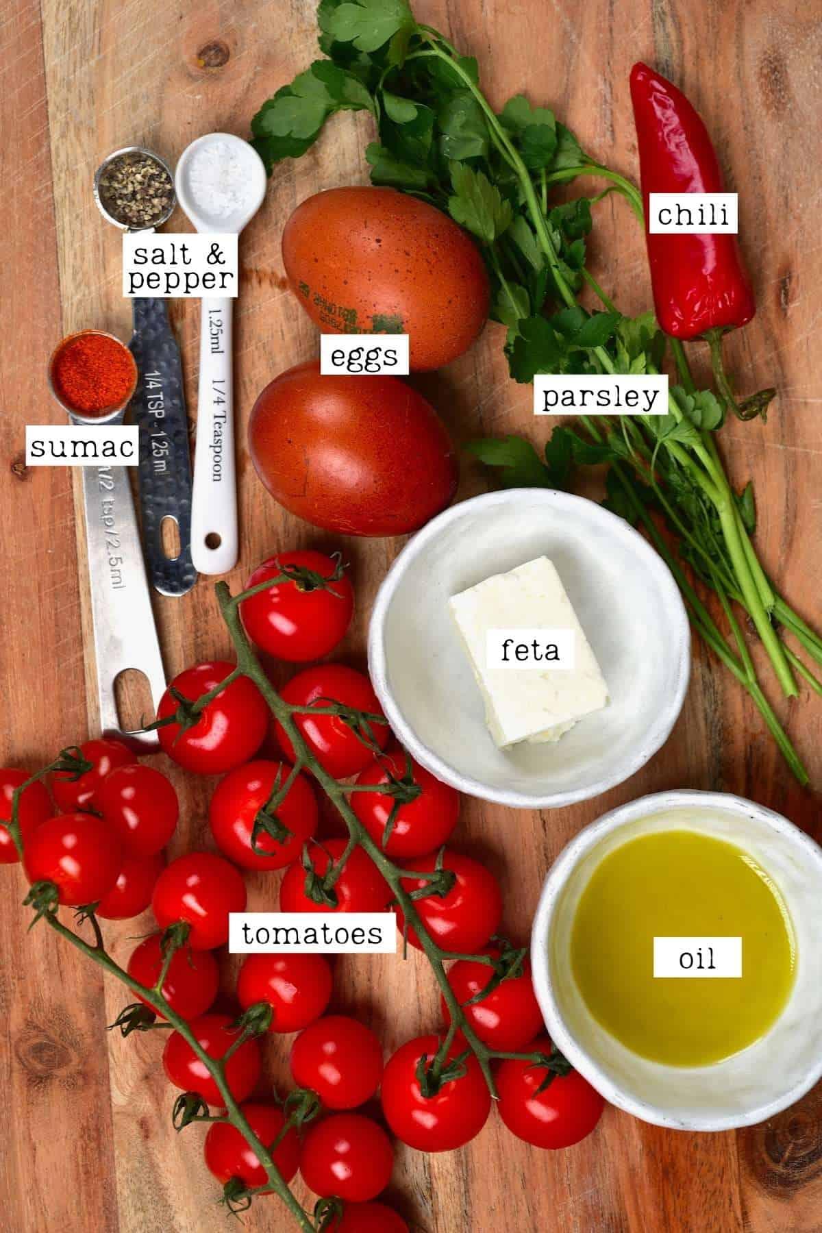 Ingredients for tomato egg breakfast