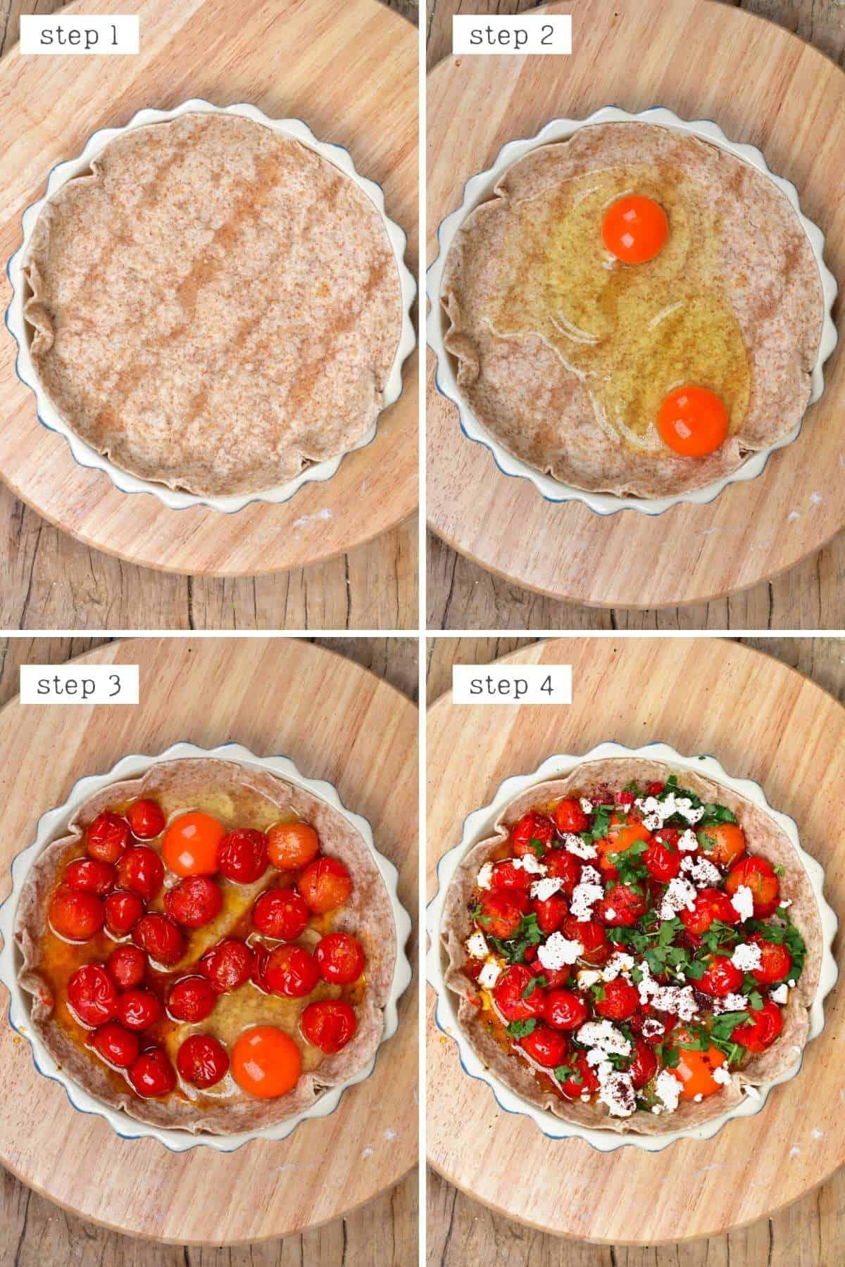 Steps for preparing tomato egg breakfast