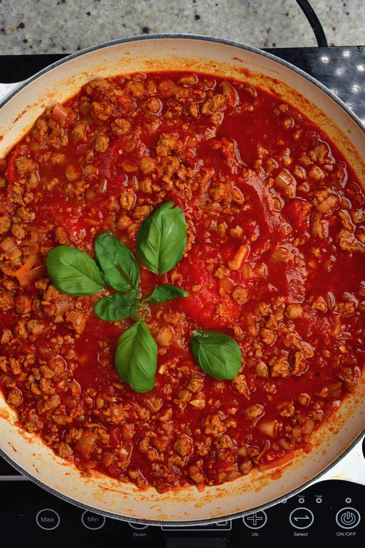Vegan bolognese sauce in a large pan
