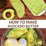 Avocado butter with toast and half an avocado