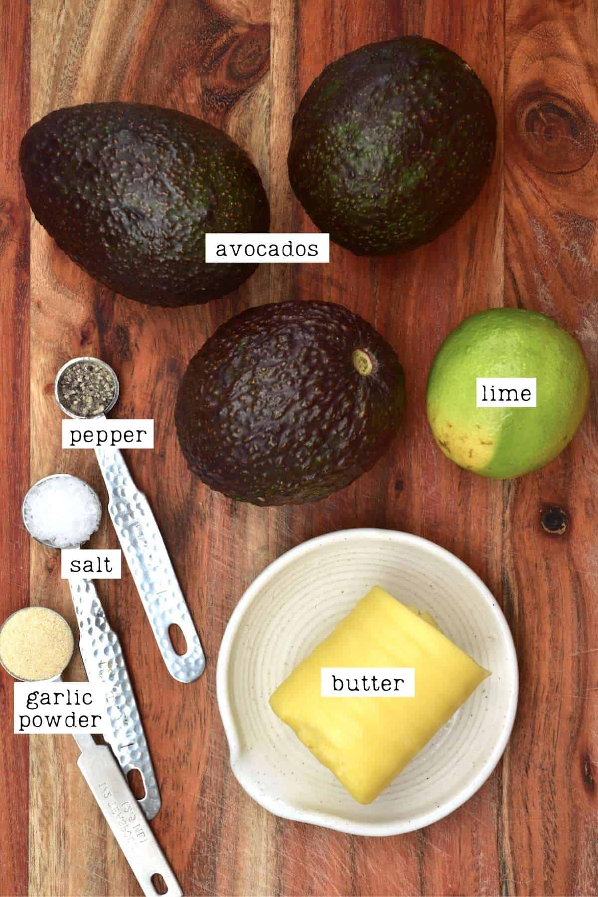 Ingredients for avocado butter