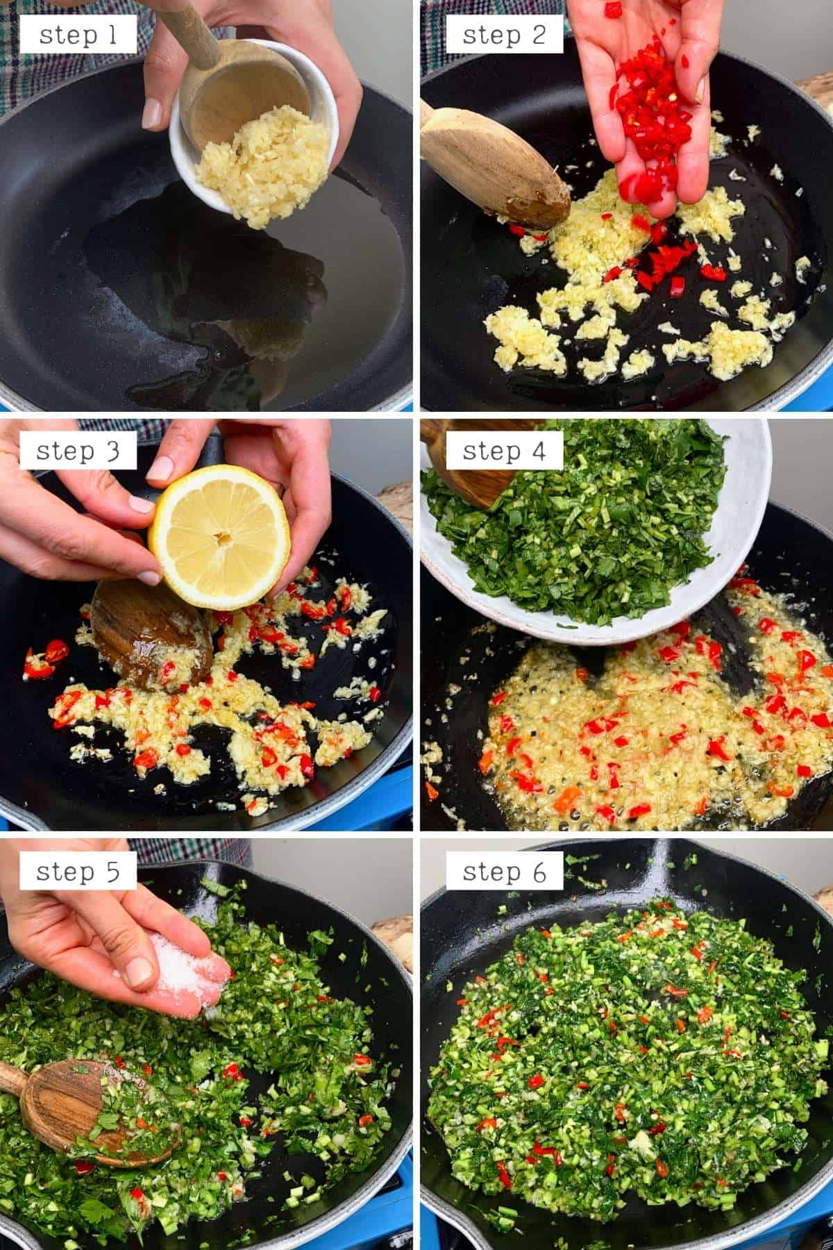 Steps for sautéing cilantro and garlic