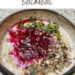 Oatmeal topped with berry compote