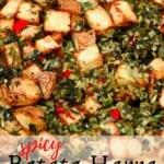Spicy batata harra in a pan