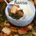 A spoonful with batata harra