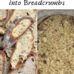 Stale bread slices and breadcrumbs