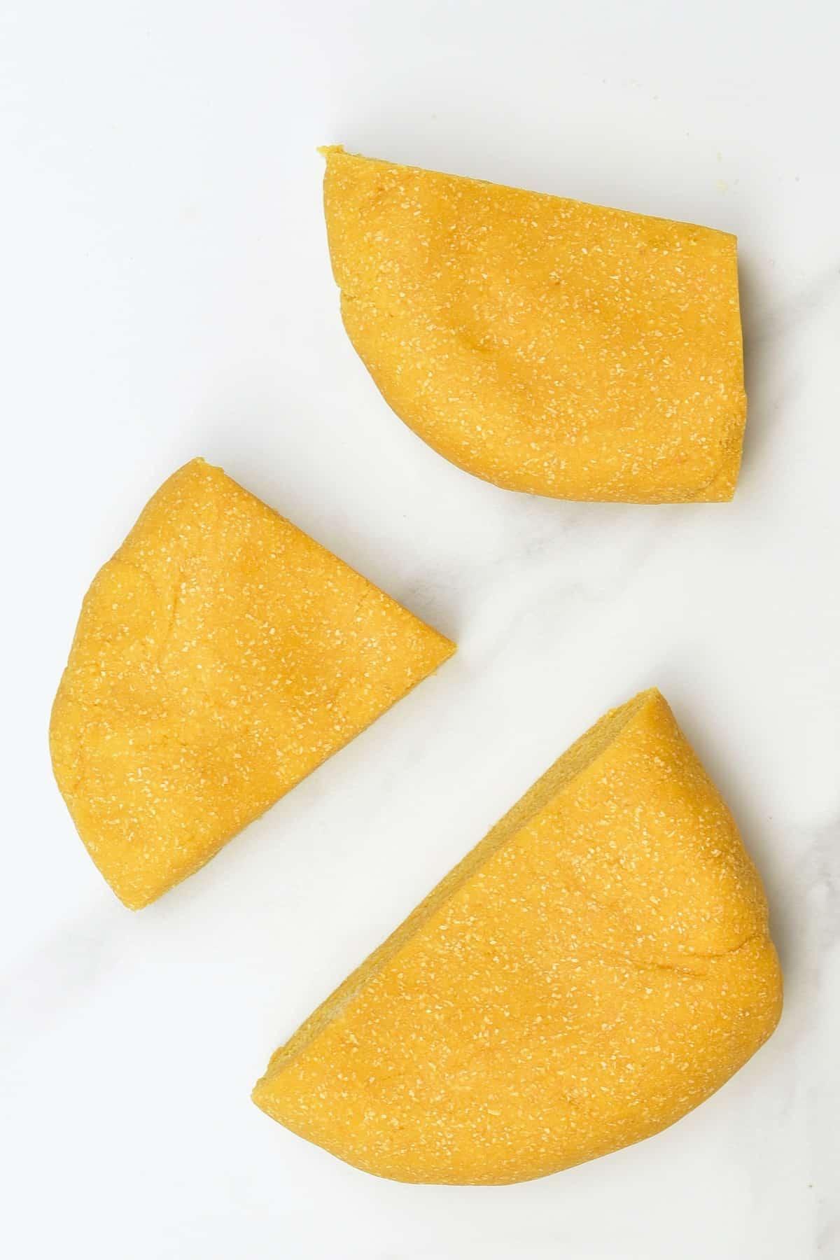 Chickpea dough cut into three