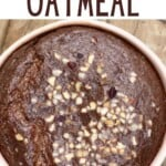 Chocolate baked oats topped with hazelnuts