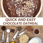 Chocolate baked oats topped with hazelnuts and ingredients to make it
