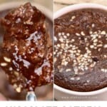 A spoonful of chocolate baked oats and the baked oats topped with hazelnuts