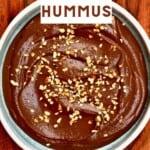 Chocolate hummus topped with chopped hazelnuts