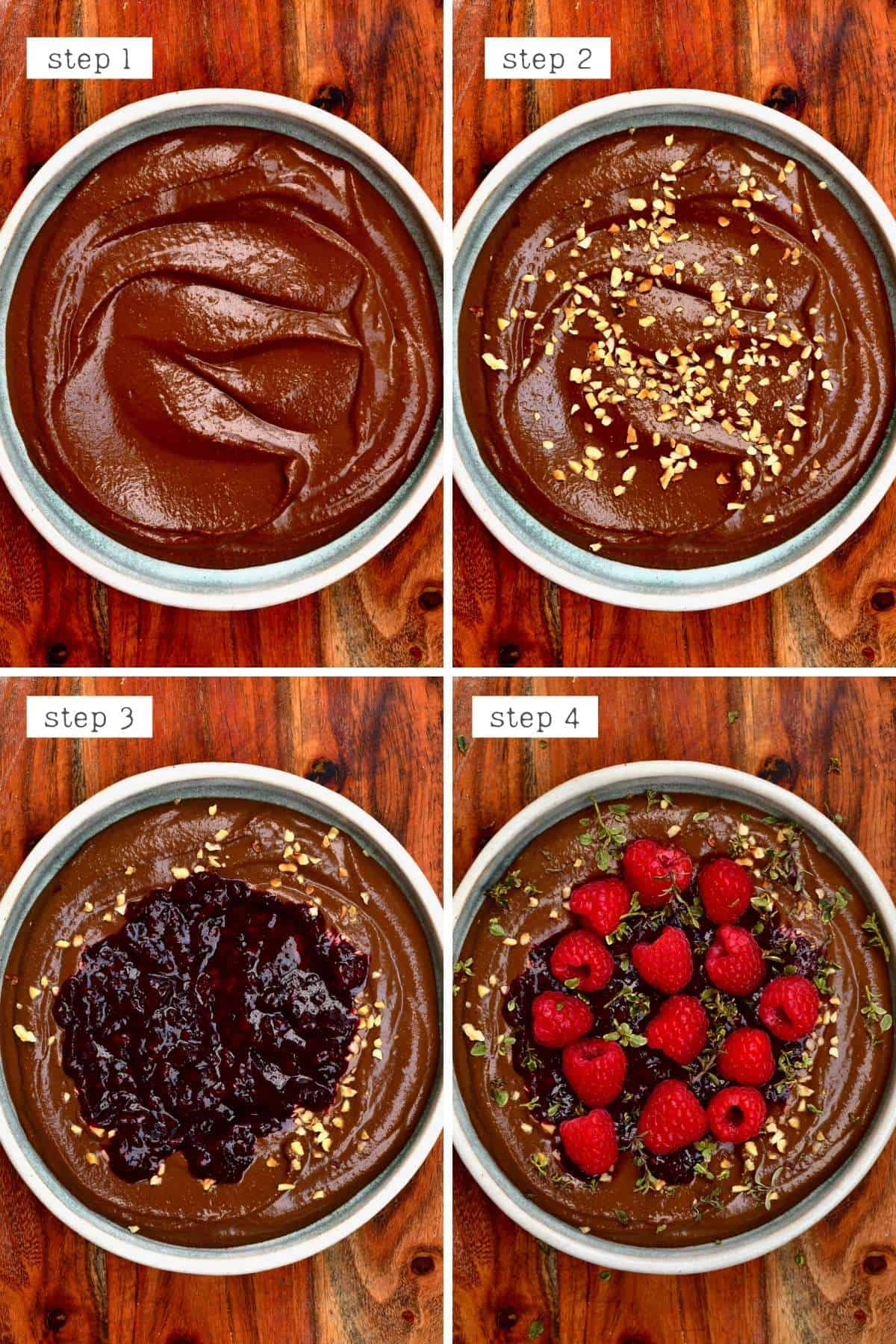 Steps for topping chocolate hummus