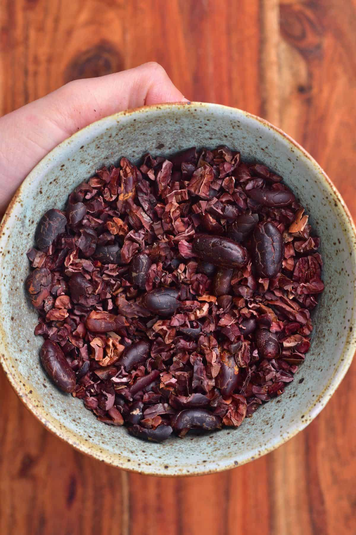 Cacao nibs in a plate