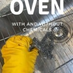 Scrubbing oven rack with a metal brush