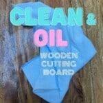A blue microfiber cloth on a wooden board