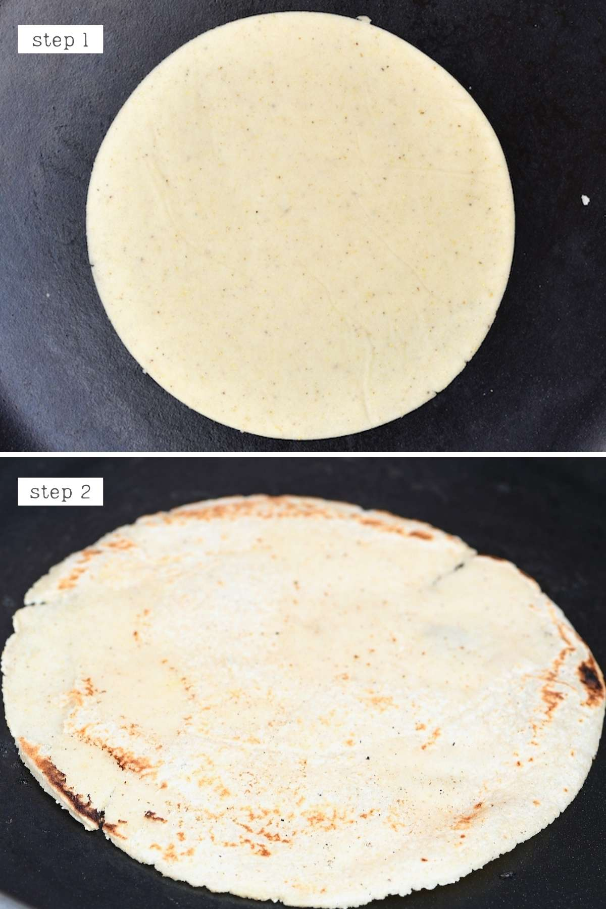 Steps for cooking homemade corn tortilla