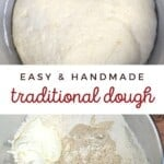 A risen dough and ingredients for dough in a bowl