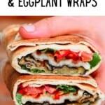 Eggplant and halloumi wrap cut into two