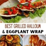 Making Eggplant and halloumi wrap