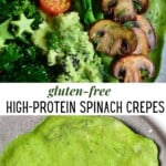 Spinach crepes topped with tomatoes broccoli mushrooms and avocado
