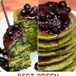 Cutting a piece from a stack of green spinach pancake stack